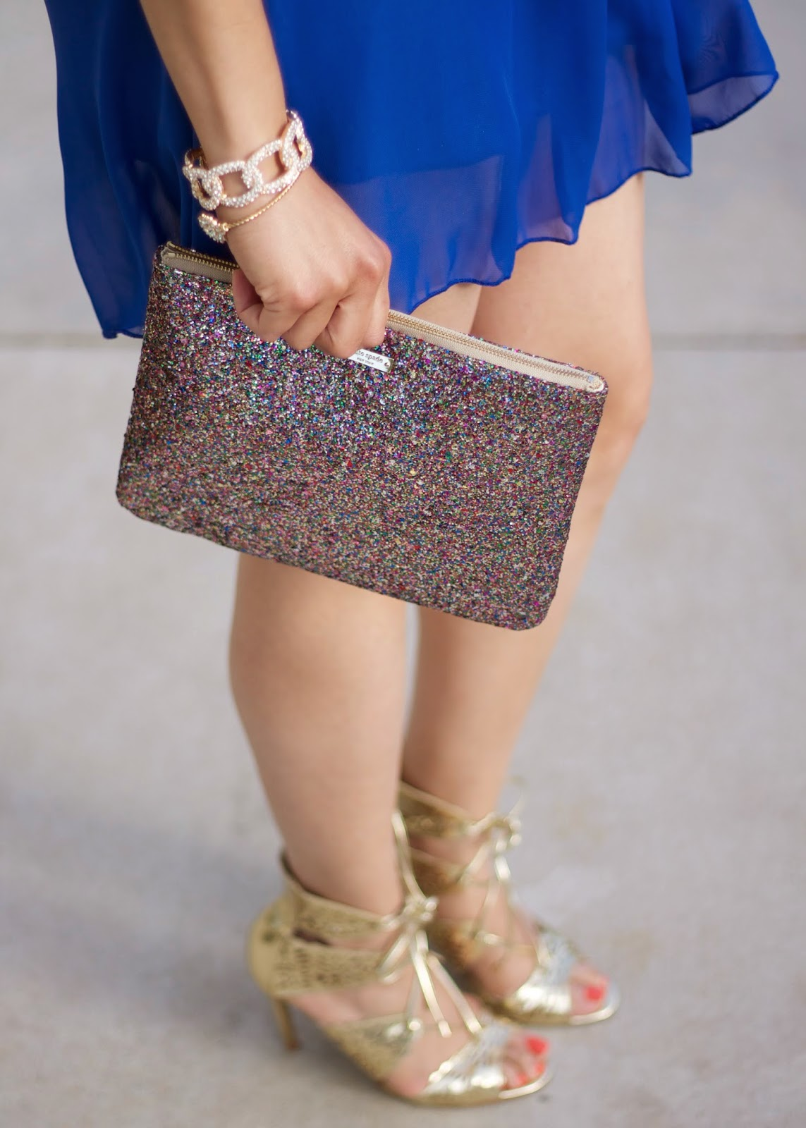 Fun and girly accessories, kate spade accessories, glitter clutch, gold heels, gold sandal heels