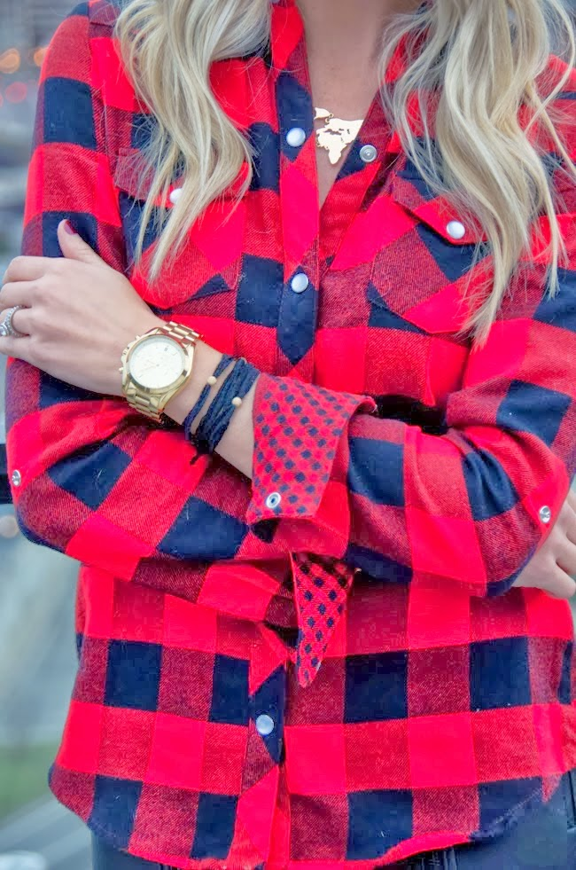see more Stylish Check Red Shirt With Wrist Watch