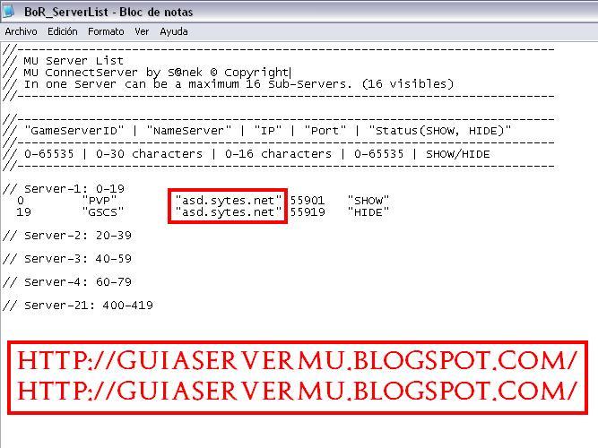 Configuración del serverlist