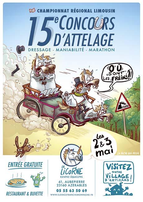 Affiche humoristique pour un concours d'attelage organisé par le centre équestre la licorne - la vache qui meuh