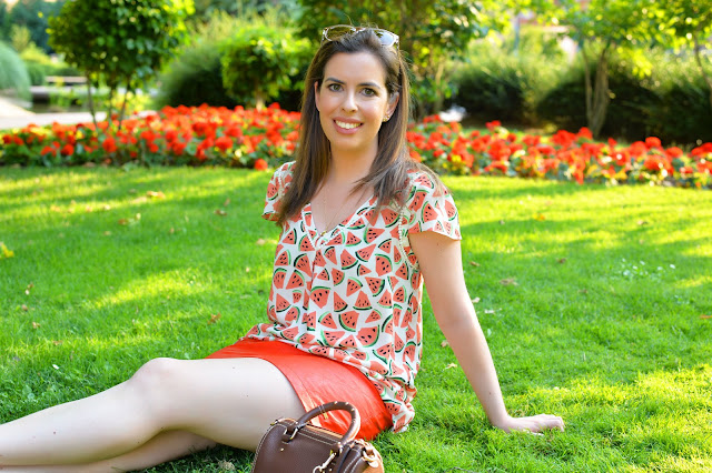 orange watermelon anthropologie leather skirt fashion blogger