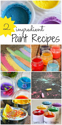 21 two ingredient homemade paint recipes - quick and simple recipes to add texture, scents, and vibrant colors to kids art.