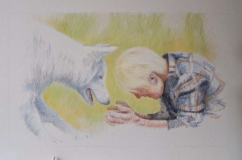 Hund und Mensch, Portraitzeichnung