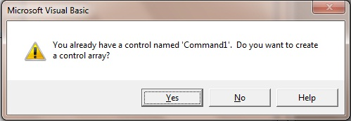 Warning message for creating control array