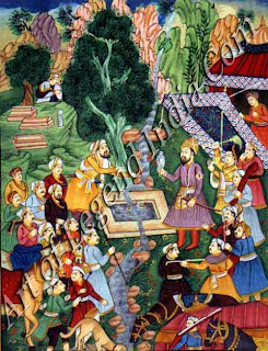 Babur Crossing the River Son over a Bridge of boat