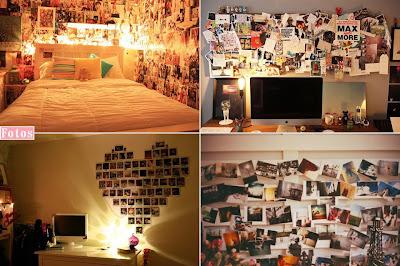 parede como mural de fotos decorando a parede do quarto