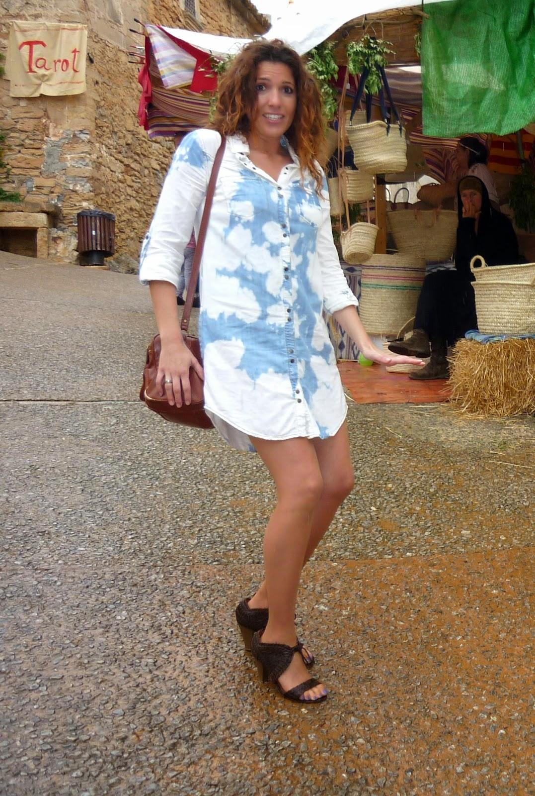 vestido camisero corto azul