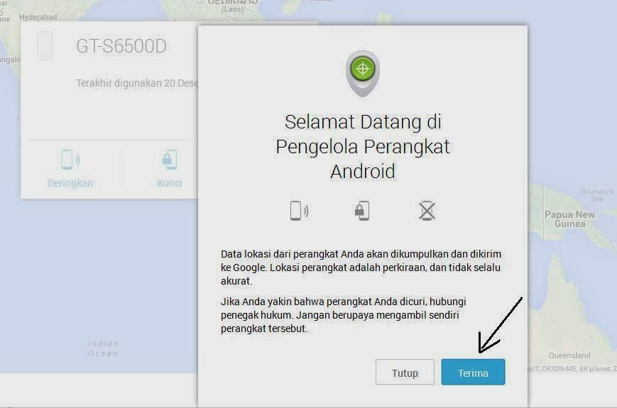 cara mencari hp yang hilang di Android device manager