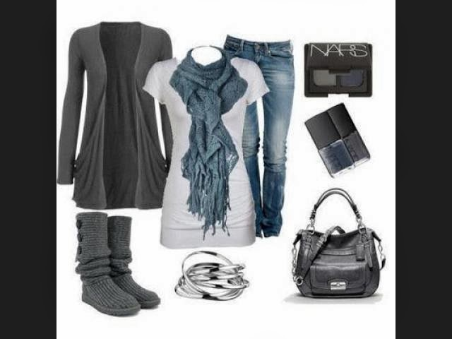 Cute Outfit - Grey Sweater,Blue Jeans with Suitable Scarf and Handbag, Knitted Boots and Accessories