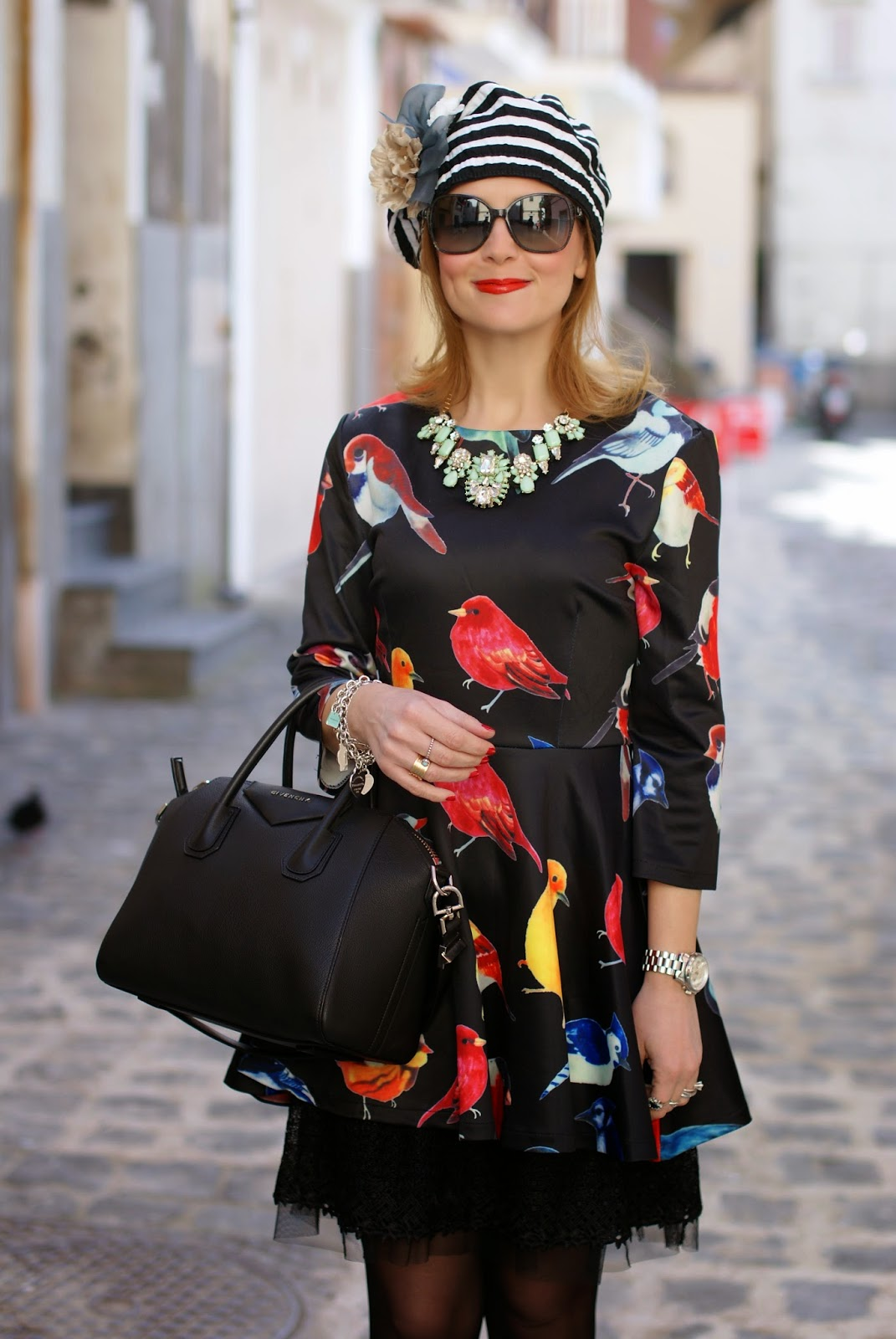sheinside birds print dress, Givenchy Antigona bag, striped basque, Fashion and Cookies, fashion blogger