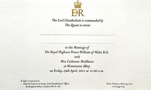 prince william wedding invitation