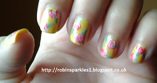 vintage victorian rose flower painted nail art