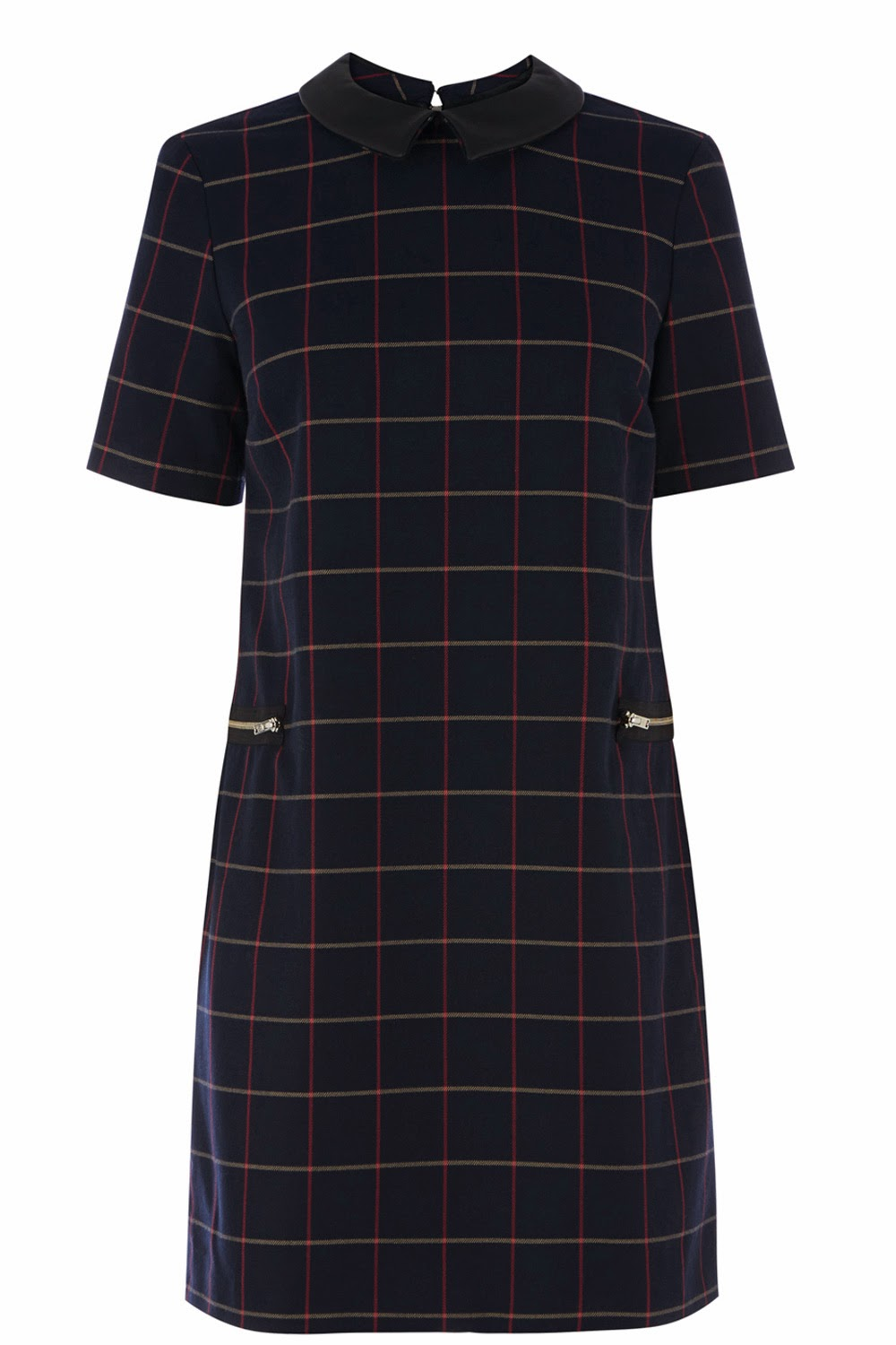 navy square print dress