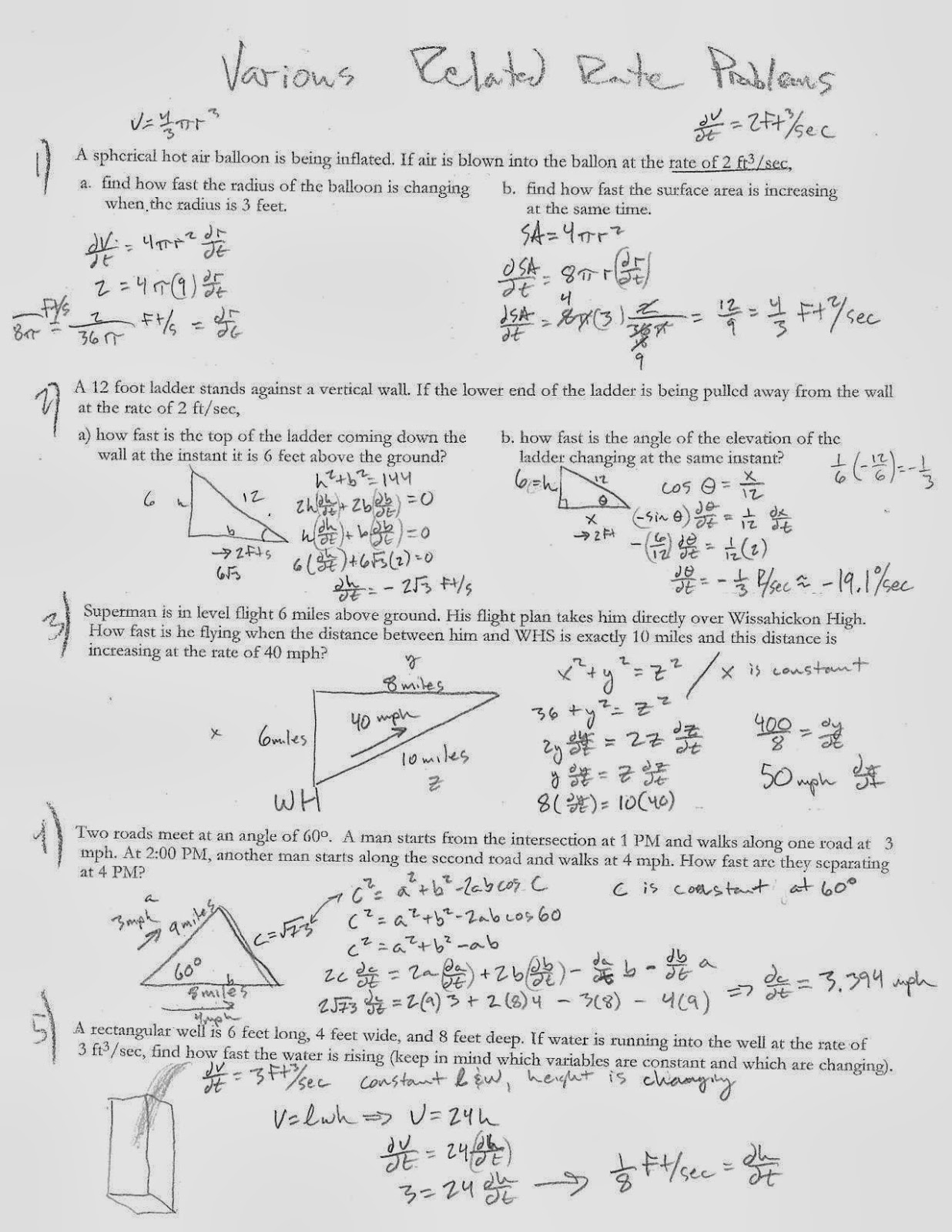 Related Rates Worksheets For Ap Calc related rates worksheets – Related Rates Worksheet