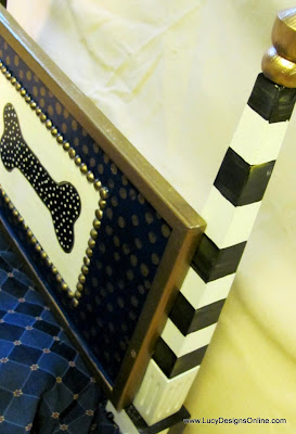 black and white striped dog bed headboard posts with hand painted dog bone