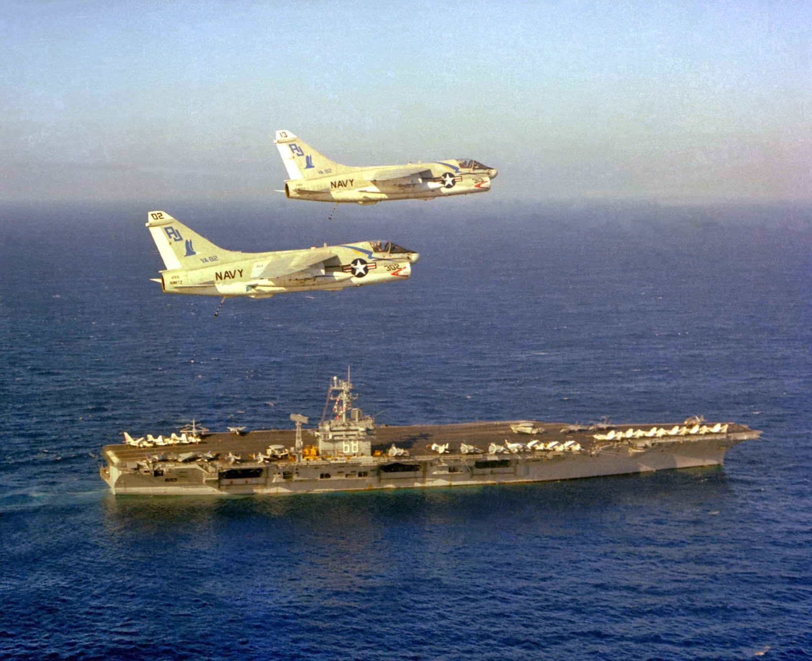 VA-82 Marauders flying alongside USS Nimitz CVN 68... too cool huh!