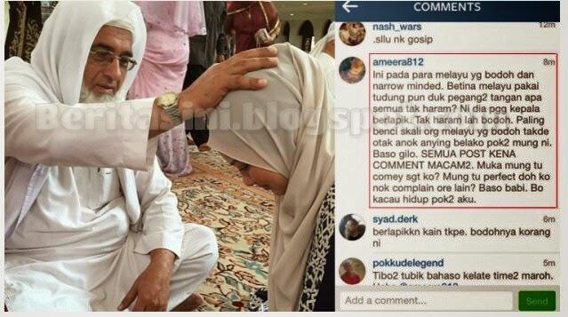 Kepala Neelofa disentuh Qari adik mengamuk di Instagram