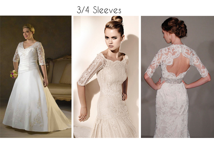 3/4 sleeve wedding dress with lace