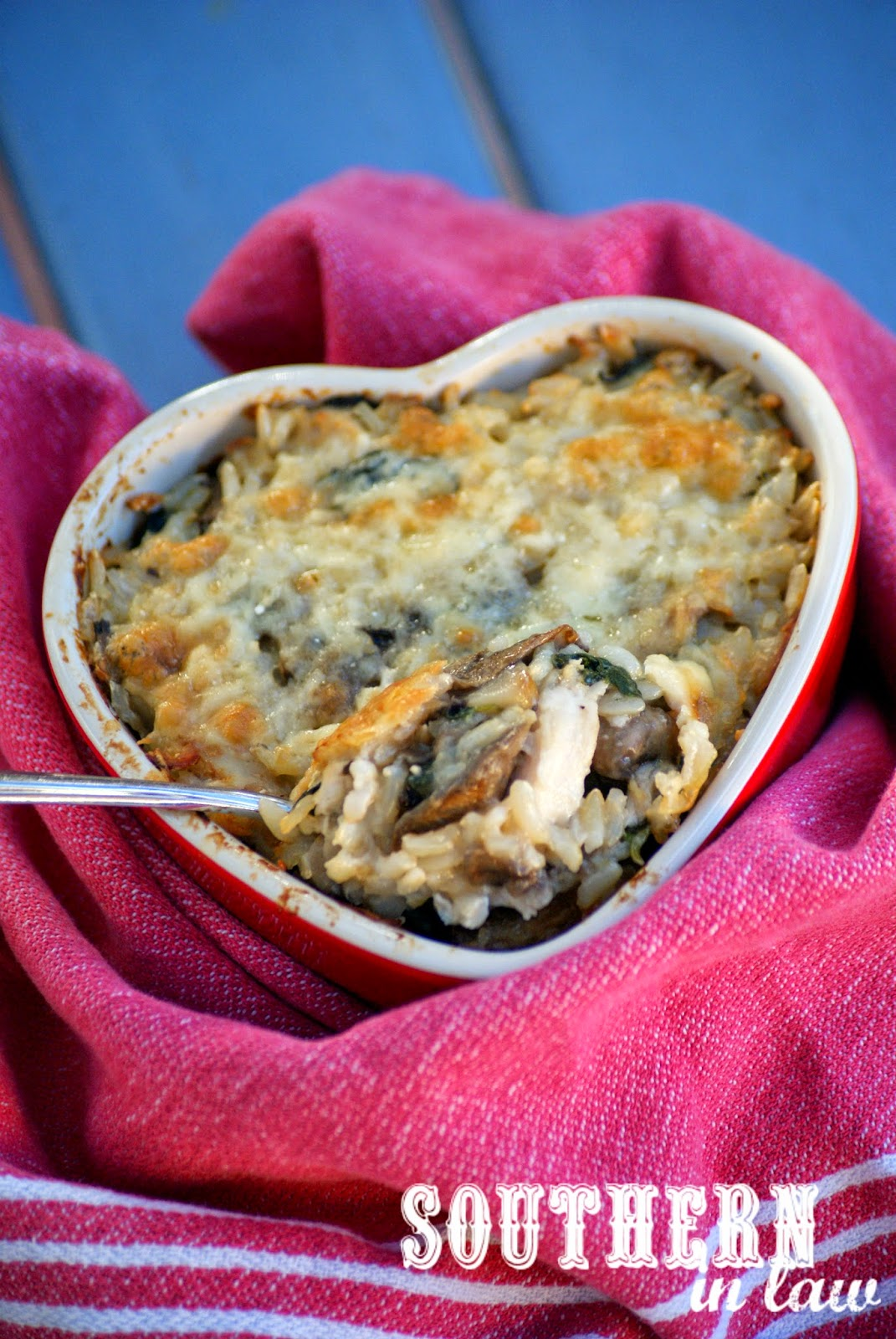 Healthy Cheesy Chicken and Mushroom Rice Bake Casserole Recipe using Greek Yogurt  - Low Fat, Gluten Free, Vegetarian Option, Eggless, Egg Free, Clean Eating Friendly
