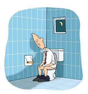 Cowok Lagi Buang Air di Toilet Duduk