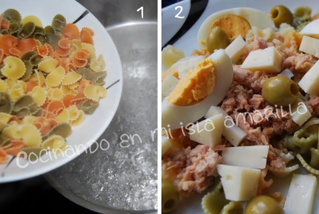 Ensalada de pasta con vinagreta de fresas y piñones