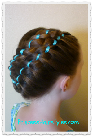 #hairstyle Diagonal stacked ribbon braids updo