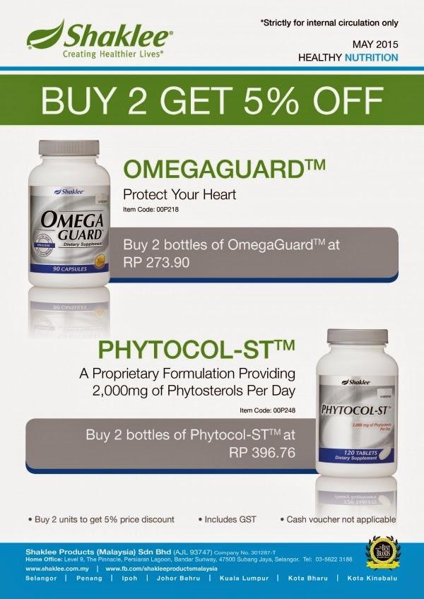 PROMOSI SHAKLEE APRIL 2015: OMEGA GUARD & PHYTOCOL-ST (BELI 2 DENGAN DISKAUN 5%)