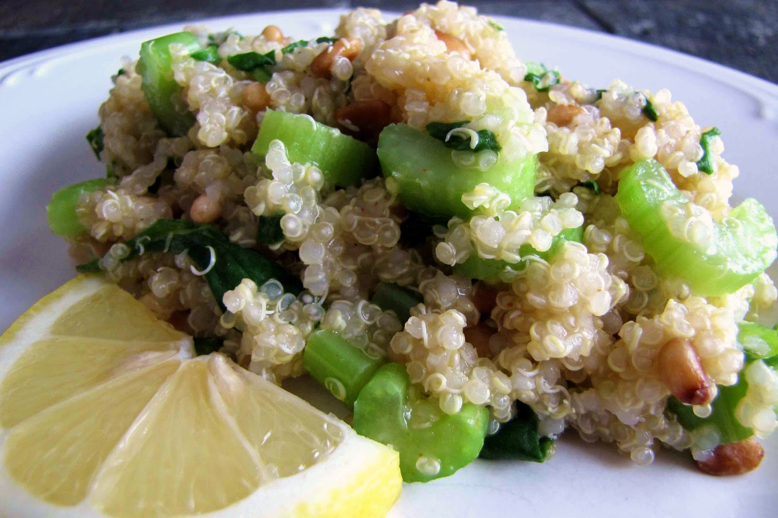 Lemony Quinoa with Spinach from Delicious as it Looks