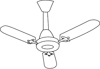 Ceiling Fan :: Clip Art :: Line Drawing :: Science Worksheet :: Kindergarten :: KG Class