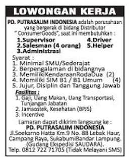 Karir Kerja Lampung PD. PUTRASALIM INDONESIA