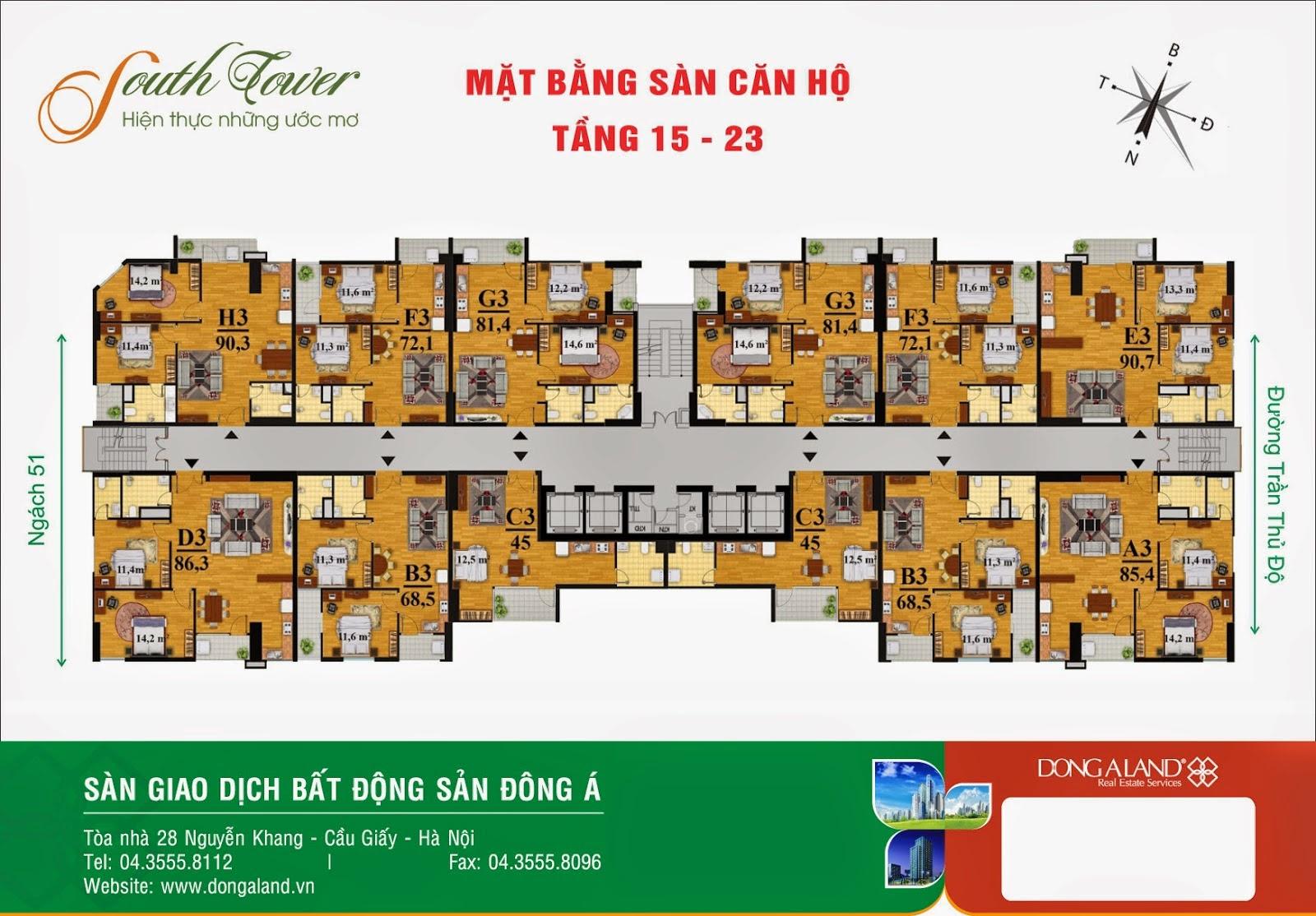 Mặt bằng chi tiết các căn hộ tầng 15 - 23 chung cư Hoàng Liệt