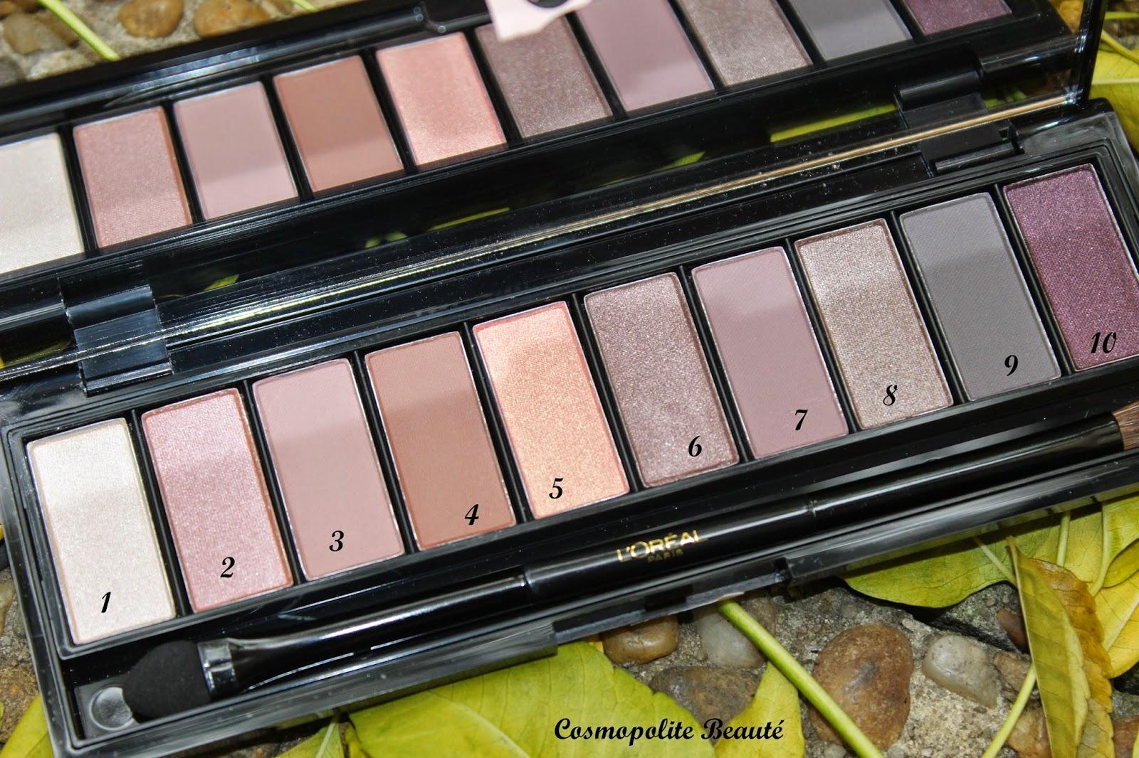 palette nude L'Oréal, maquillage, nude, makeup, fards à paupières