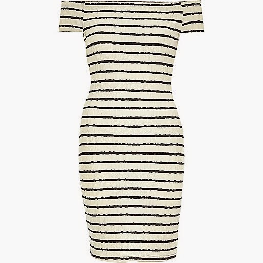 river island stripe dress, river island navy cream dress,