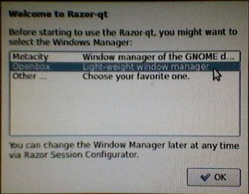 Razor-qt choose Window manager,Openbox