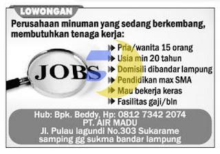 Lowongan Kerja PT Air Madu Lampung, Sabtu 06 Juni 2015