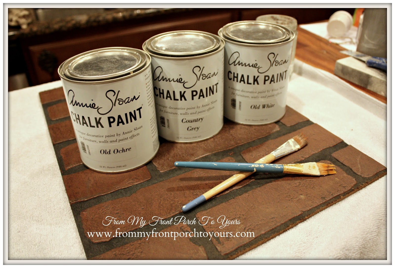 DIY Faux Brick Wall Tutorial-Annie Sloan Chalk Paint- From My Front Porch To  Yours
