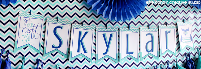 tissue accordians, birthday banner, get your craft on banner, chevron