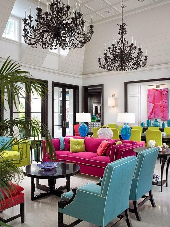 Decoración de Salas con mucho color