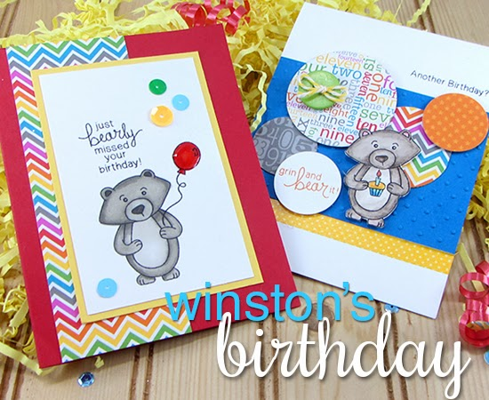 Winstons Birthday stamp set by Newton's Nook Designs - bear birthday cards