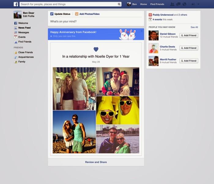 Facebook'tan İlişki Yıl Dönümü Hatırlatması