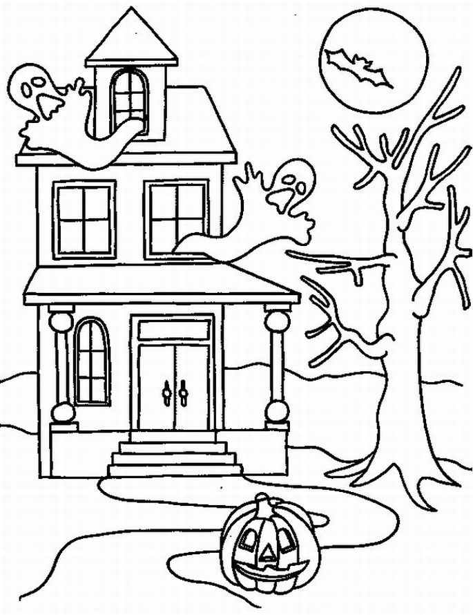 coloring pages haunted house - photo#27