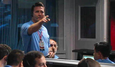 Curiosity MSL lands on Mars. Adam Stelzner, Lead of EDL in action. Control room at JPL, 6 August 2012. NASA/JPL.