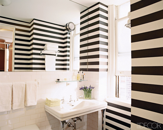 Design obsessed black white for Black and white striped bathroom accessories