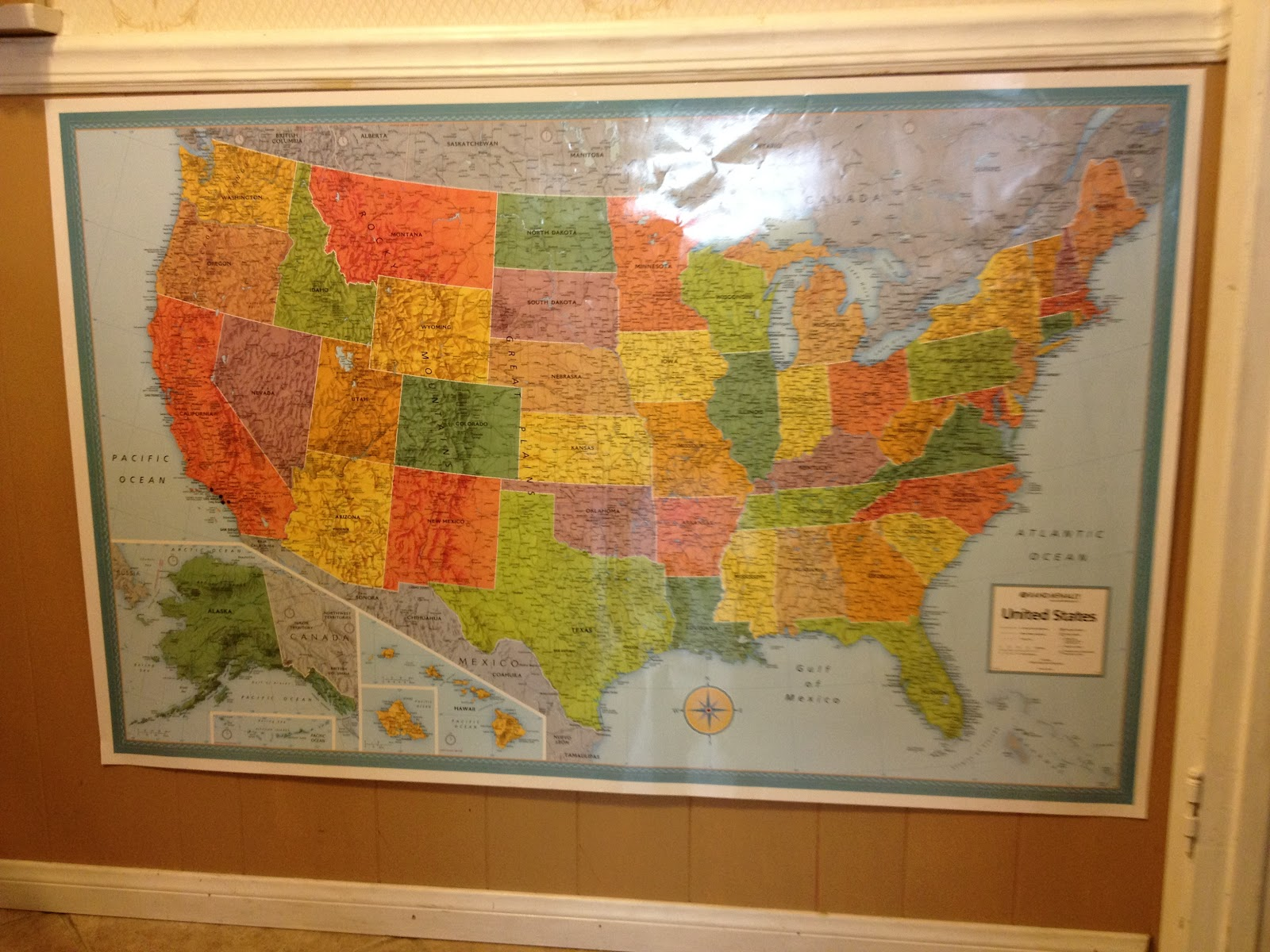 they are laminated so we marked though you can t tell in the pictures where we live and where our family lives