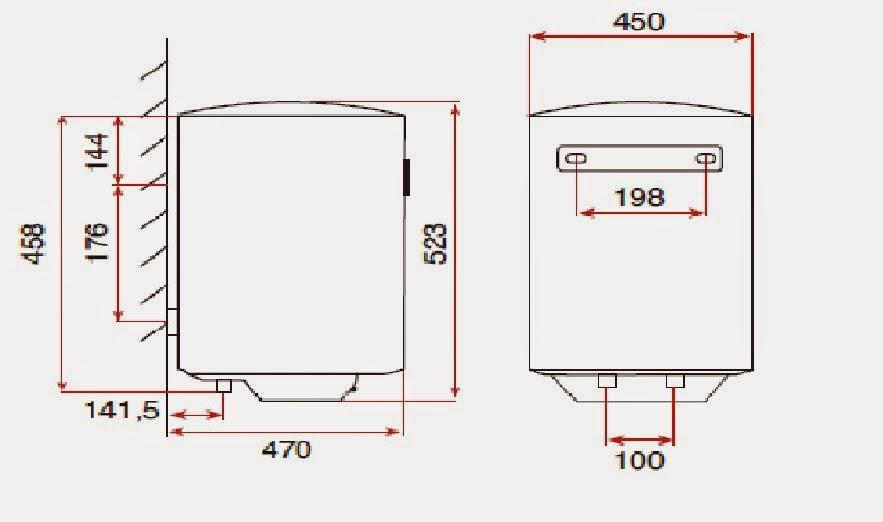 desenho técnico do termo-acumulador Teka EWH 50