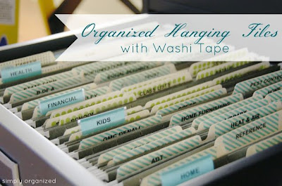 Organizing Folders with Washi Tape