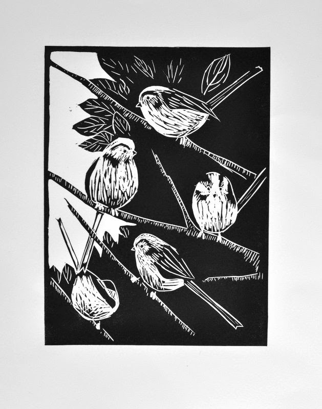 Long-tailed tits linocut
