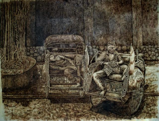 Lukisan dari Obat Nyamuk Bakar dan Bara Rokok