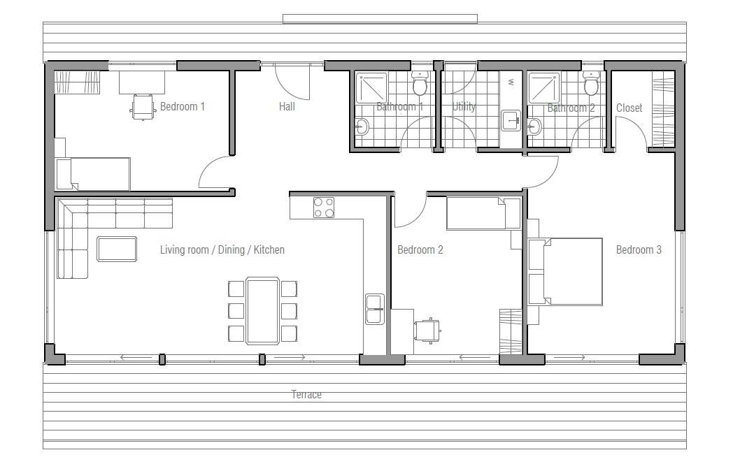 Contemporary house plans contemporary home ch64 for Modern house plan 2012