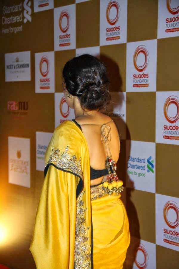 Vidya Balan Back strings blouse design